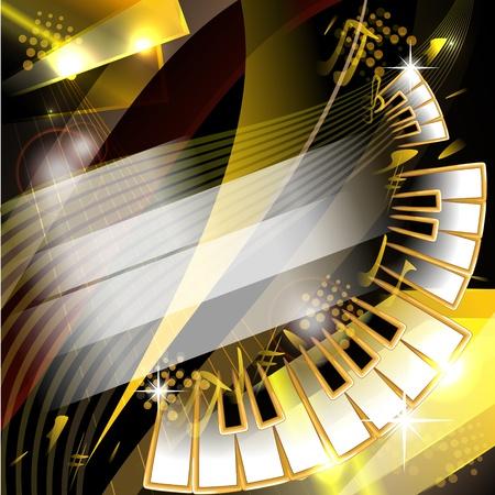 Abstracte achtergrond met pianotoetsen en muziek symbolen Stock Illustratie