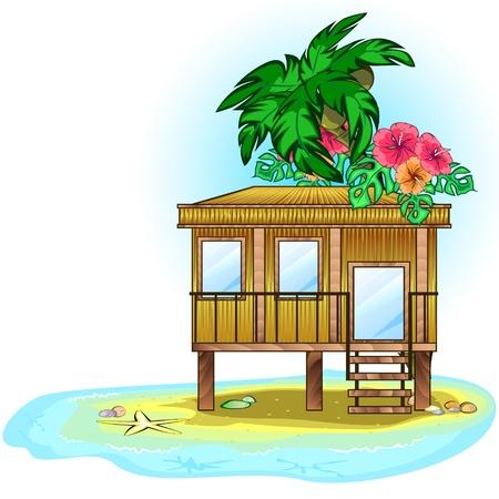 방갈로: 바다에 나무 열대 주택이나 방갈로