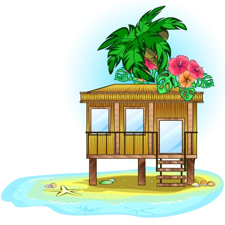 Wooden tropic house or bungalow on the sea Vector