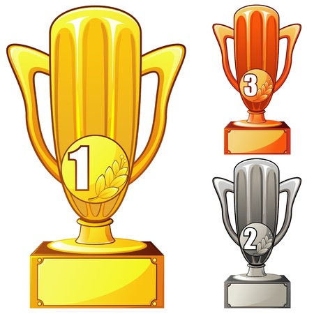 Golden and bronze and silver cups with medals and numbers Stock Vector - 13184070