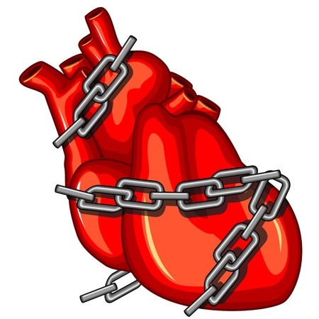Red human heart with chains as concept of cardiac disease