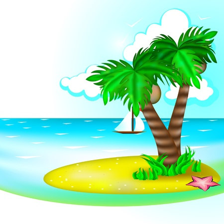 Tropic landscape with sea and small island with palm trees Vector