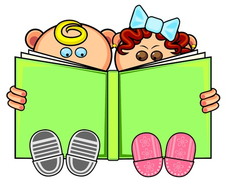 Little boy and girl sitting and reading big book Иллюстрация