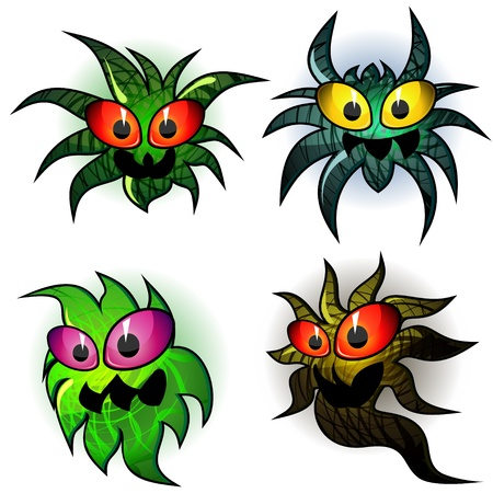 Set of four transparent germs with aggressive faces Stock Vector - 13401017