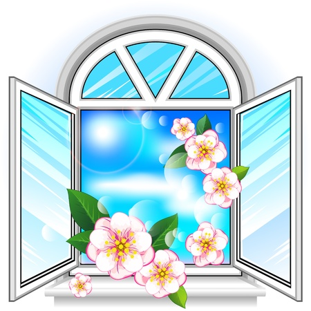 windowsill: Open modern plastic window with sky and flowers