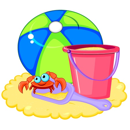 pail: Bright beach ball and pink bucket with shovel and crab on sand