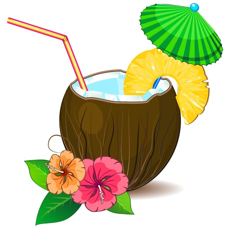Coconut with slice of pineapple and decorative parasol