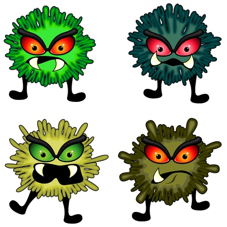 bacillus: Set of four splashy round germs with aggressive faces Illustration