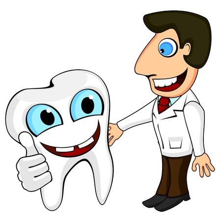 dientes caricatura: Diente feliz que muestra el pulgar hacia arriba y sonriendo dentista