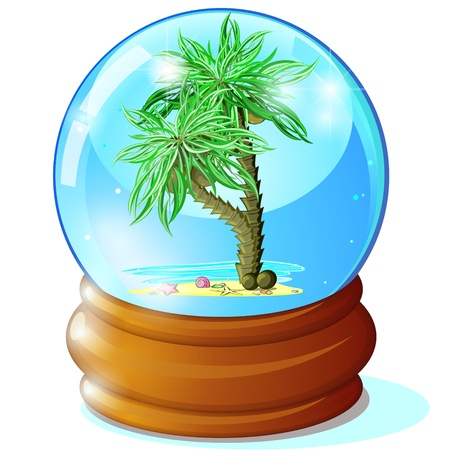 starfish beach: Two palm trees in blue glass ball Illustration