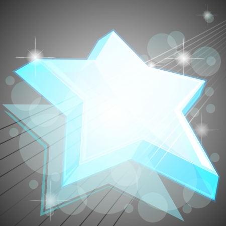 Abstract gray background with transparent blue star Stock Vector - 13700917