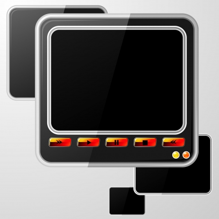 rectangle button: Black speech bubble with glossy red buttons