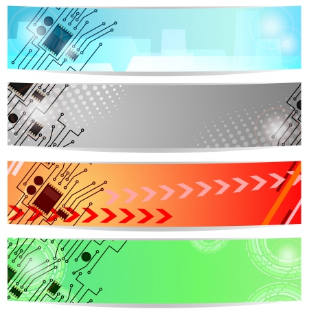 Set of four abstract banners with fragments of circuit board Stock Vector - 13802264