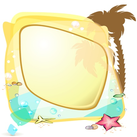 Abstract speech bubble with silhouette of palm tree Vector
