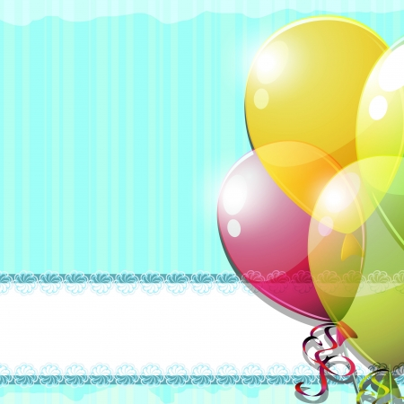Vintage blue striped card with colorful balloons Stock Vector - 13802259