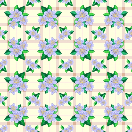 Light brown seamless texture with pastel blue flowers and leaves Vector