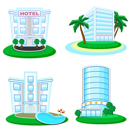 Set of four business buildings � offices or hotels Vector