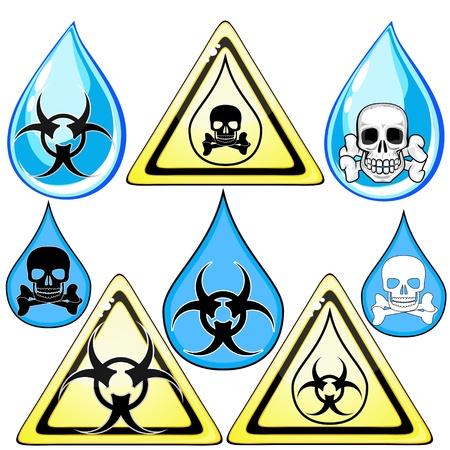 contaminacion del agua: Conjunto de signos y símbolos para el marcado de agua de veneno o sucio