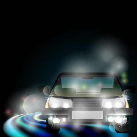 generic: Night foggy road with neon light and blurred generic car