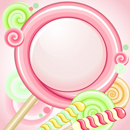 Big pink lollipop as speech bubble over pink