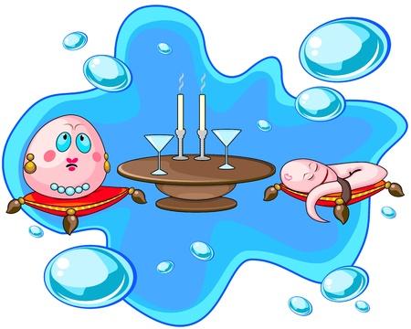 Unsatisfied egg and sleeping spermatozoon on date Stock Vector - 14129350