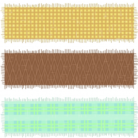 checkers: Three banners made of old fabric with geometric print over white Illustration