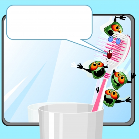 oral hygiene: Toothbrush in glass near mirror with germs and speech bubble