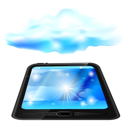 Modern generic touchscreen device with blue cloud above Stock Vector - 14288353