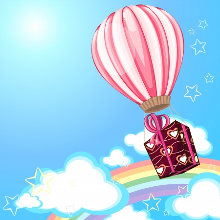 Holiday card with pink hot air balloon and gift box Vector