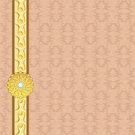 Golden border and medallion with gem over vintage background Vector