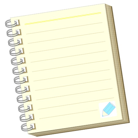 ruled: Icon of blank open notebook with lined pages Illustration