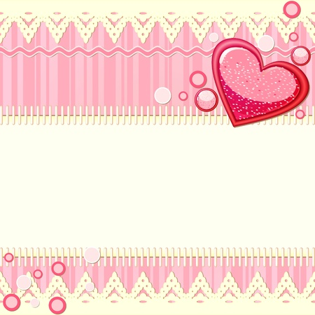 Scrapbook card with red glossy heart and space for text Vector