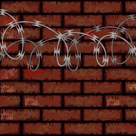 razor wire: Urban industrial background with brick wall and razor wire