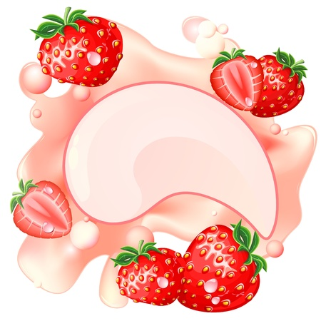 layout strawberry: Pink creamy splash with strawberry and bubbles