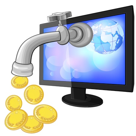 proceed: Computer monitor with faucet and dripping golden coins