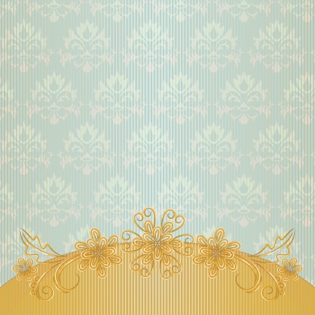 Vintage striped background with gold border and flowers Vector