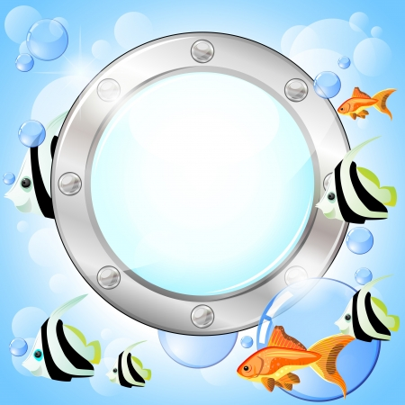 Blank porthole and fish and bubbles over blue