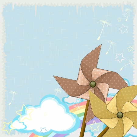 Blue sky with clouds and rainbow and two pinwheels Vector