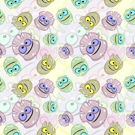 freaks: Seamless pastel background made of little freaks or germs Illustration