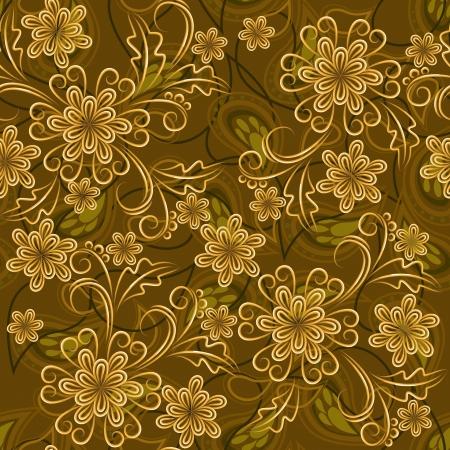 Naadloze achtergrond met gouden bloemen en Paisley elementen Stock Illustratie