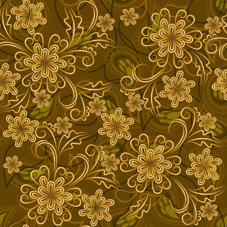 rococo: Seamless background with gold flowers and paisley elements
