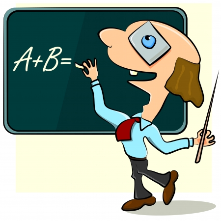 Male teacher writing on blackboard with great inspiration Vector
