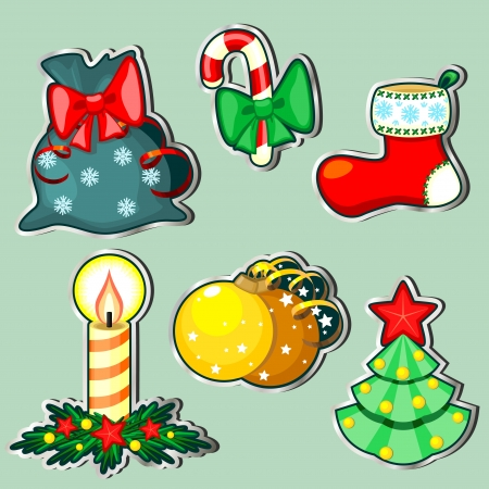Set of six stickers with Christmas items with silver border Vector