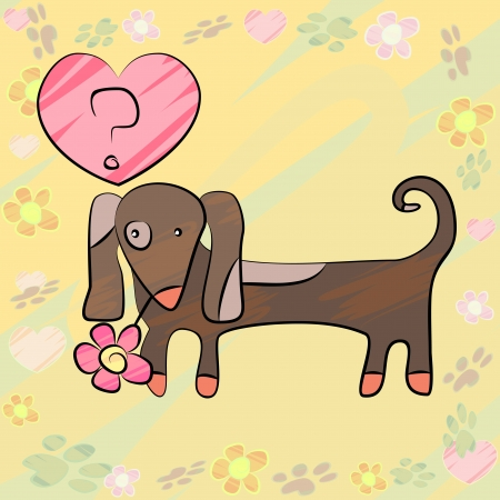 Greeting card with sketchy brown dog and pink heart Vector