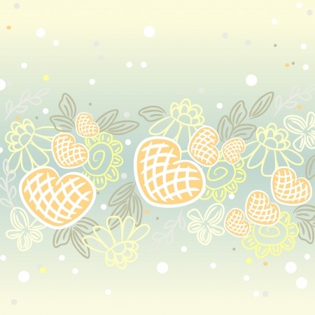 pale colors: Floral background with hearts and dots in pale colors