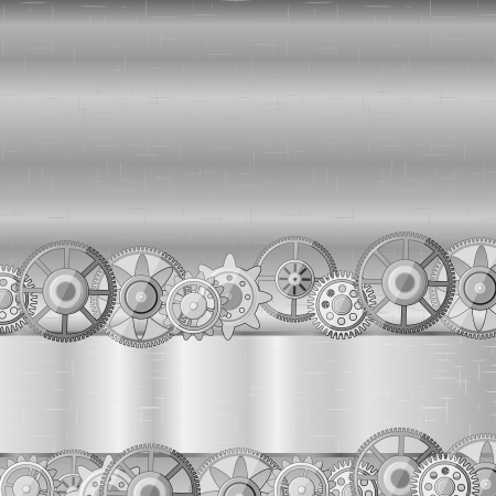 Gray metal texture with stripe and gears Illustration