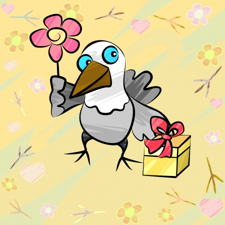 Greeting card with sketchy cartoon bird and flower Vector
