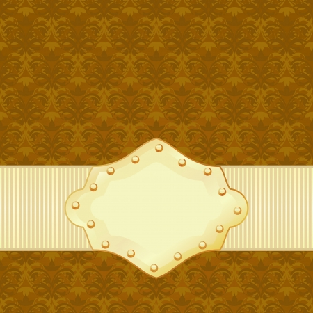 Vintage floral texture with simple golden frame  Vector