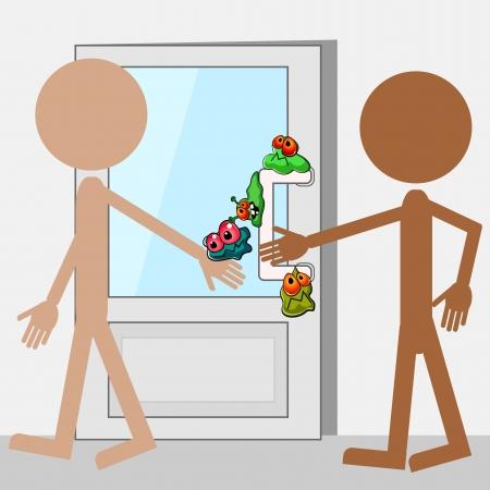Doodle personas y puerta con los gérmenes de dibujos animados Ilustración de vector