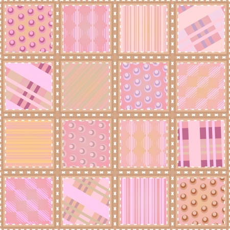 Seamless quilt background made of snippets with geometric pattern Vector